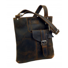 Leather Flat Cross Bag ''Old Timer''