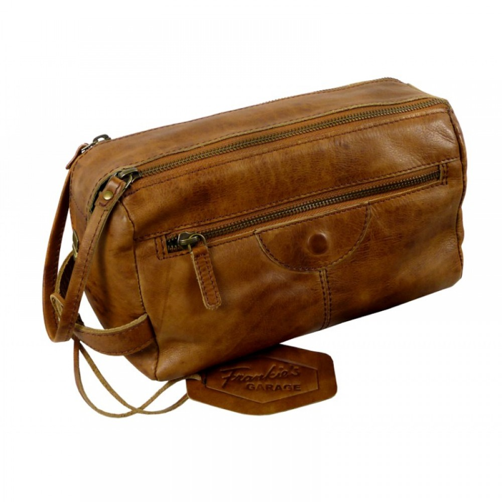Vintage Leather Handmade Toilet Bag ''Premio'' Series