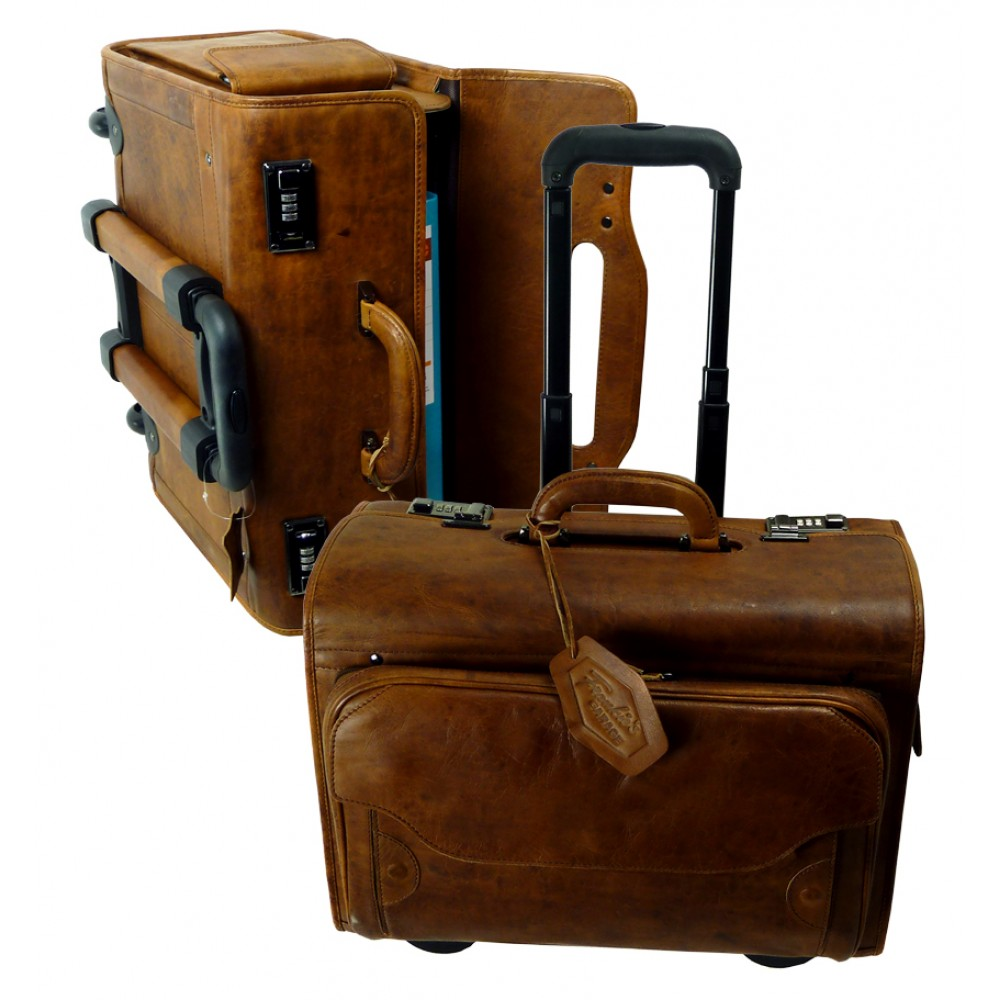 Leather Travel Bag / Pilot Bag / Trolley Bag Handmade ''Premio'' Series