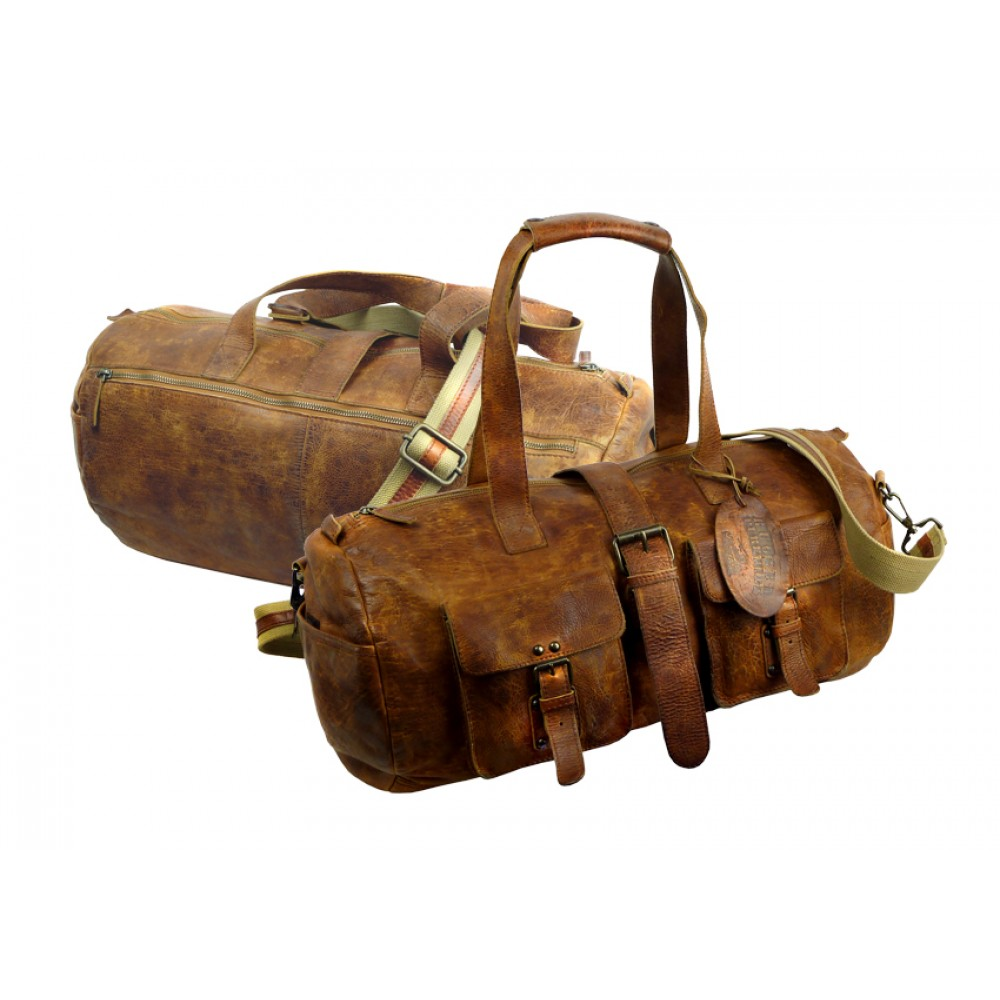 Handmade Rugged Leather Sports Bag /Weekender ''Unisex''
