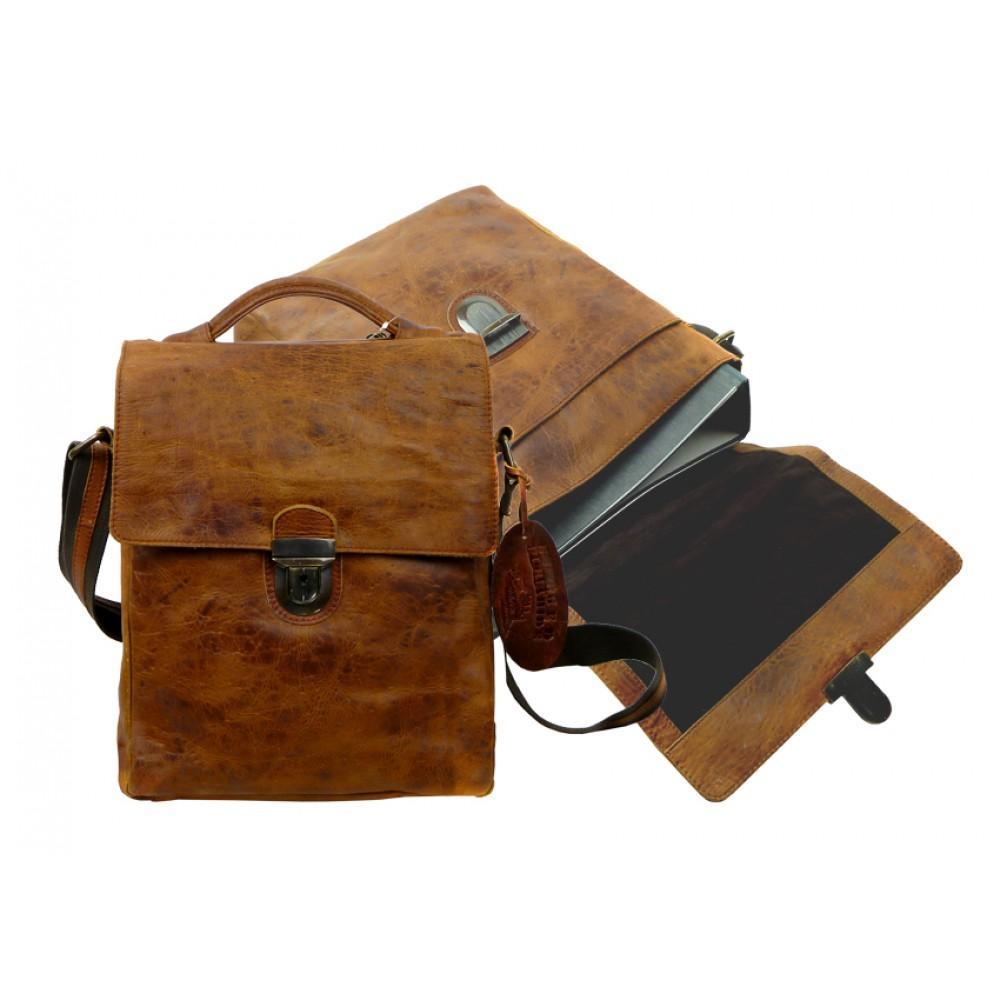 Handmade Business Messenger Bag with Vintage Look