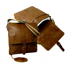Handmade Leather Messenger Bag with Vintage Look