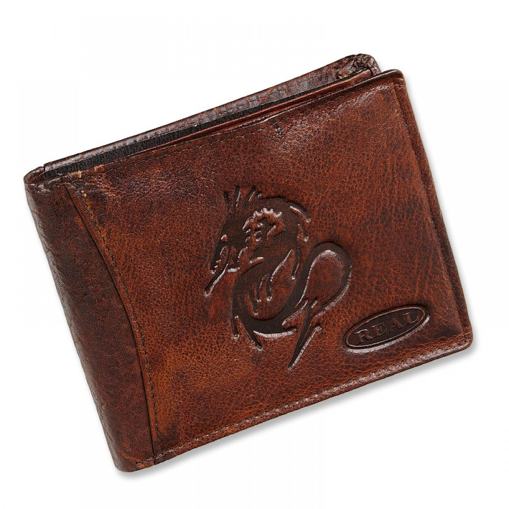 Handmade Leather Wallet Wild & Vintage Zodiac Series