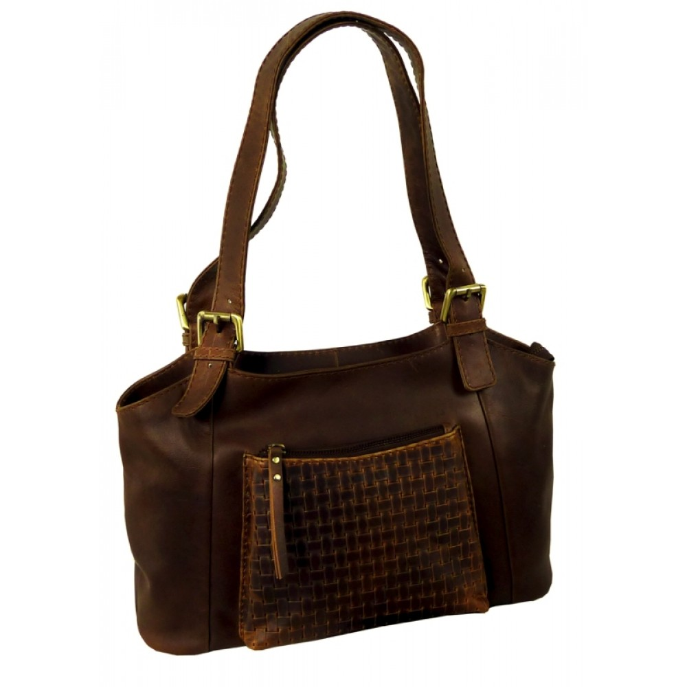 Casual Woven Leather Bag ''Love Shopping''