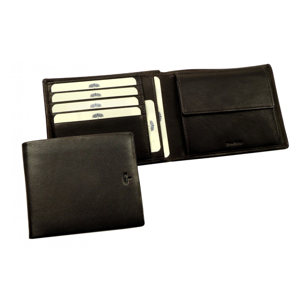 Flat Wallet ''Scotty'' Series Black & Brown