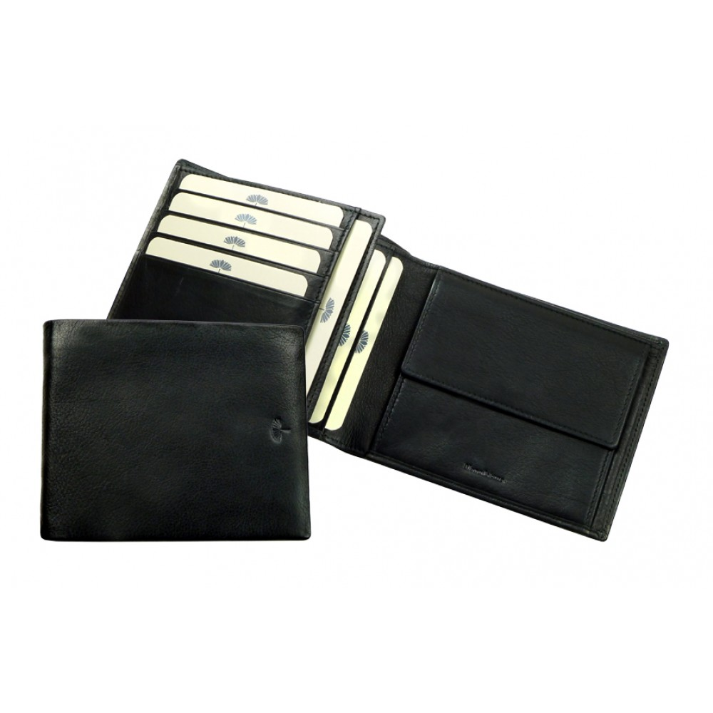 Flat Combi Wallet ''Scotty'' Series Black & Brown