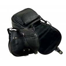 Soft Leather Casual Saddle Bag Blacky Series, Water Resistant