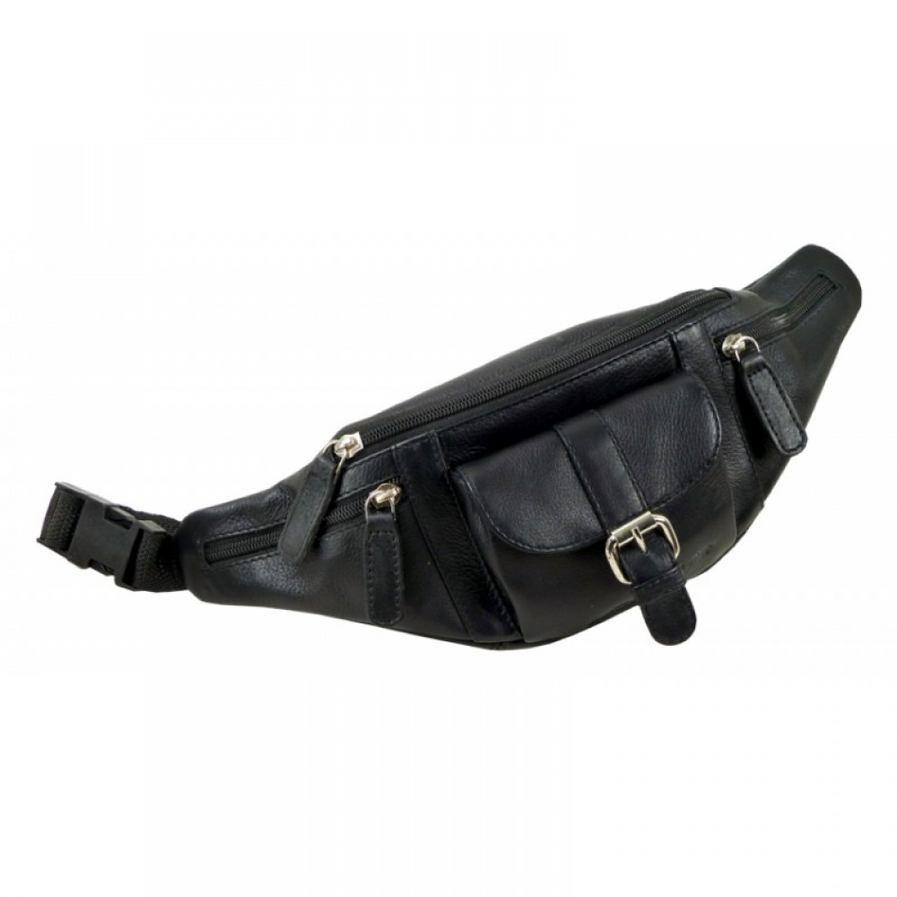 Handmade Soft Leather Fanny Pack / Belt Bag, Blacky Series, Water Resistant