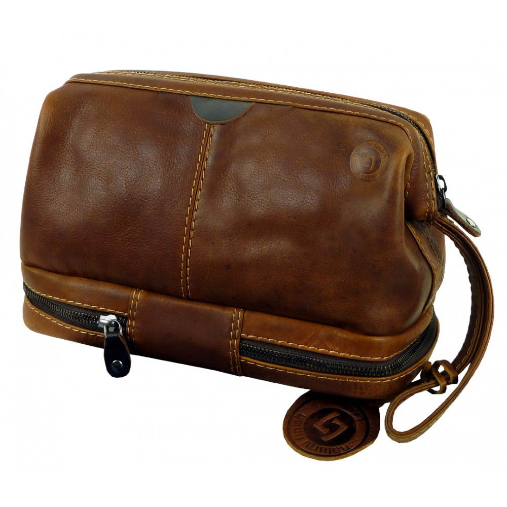 Handmade Leather Toilet Bag Woodland Series UNISEX