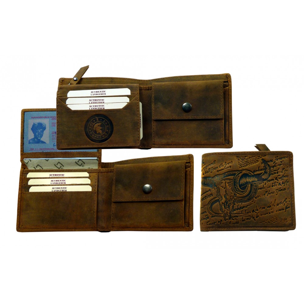 Wild & Vintage Leather Wallet from BULL & SNAKE Series, RFID Protected