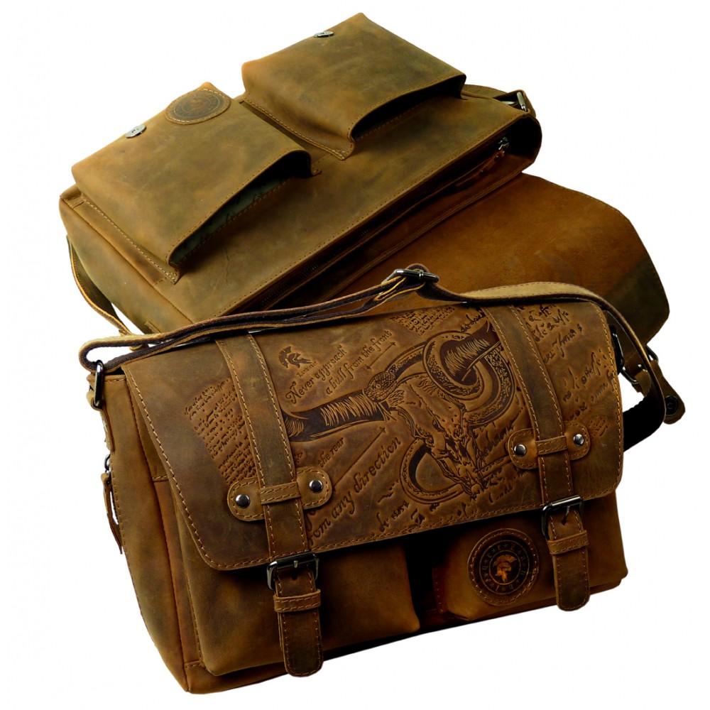 Handmade Casual Messenger/Business Bag from BULL & SNAKE Series
