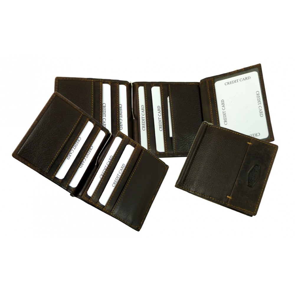 Money Clip / Clip Wallet Cadenza Series Black & Vintage Brown